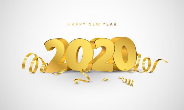 carte de vœux 2020 Bonne Année 2020. Conception De Cartes De Voeux Avec Des Confettis