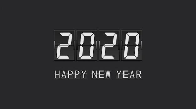 Bonne Année 2020 Dans La Conception De Lettre De Panneau De Panneau à Rebours Vecteur Premium