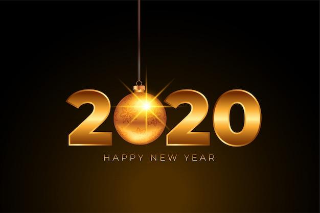 Bonne année 2020 doré avec boule de noël Vecteur gratuit