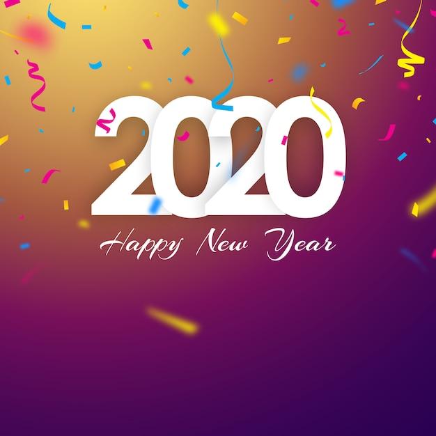 Bonne année 2020, fond de couleurs vives orné de beaux confettis. Vecteur Premium