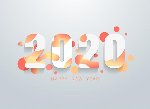 Bonne Année 2020 Avec Fond De Formes Géométriques Colorées Vecteur Premium