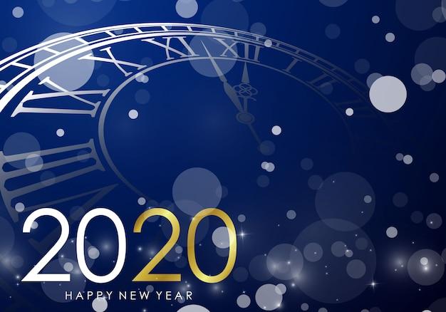 Bonne année 2020 fond avec horloge Vecteur Premium