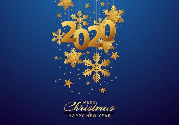 Bonne année 2020 fond orné de flocons de neige et d'or Vecteur Premium