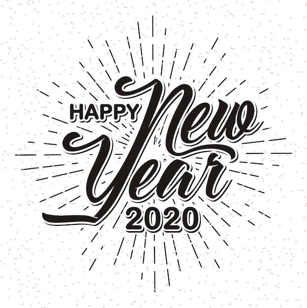 Bonne année 2020 sur fond sunburst Vecteur Premium