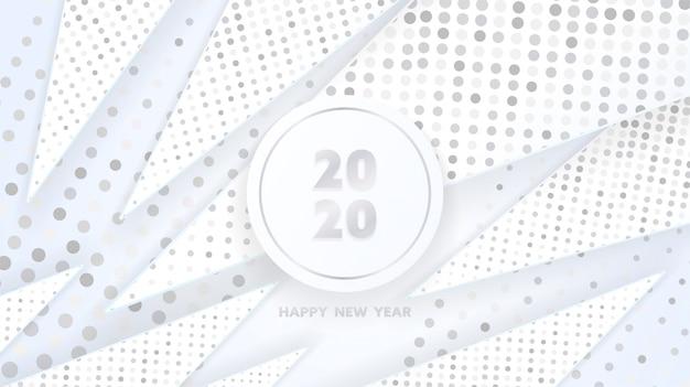 Bonne Année 2020 De Formes Triangulaires Géométriques En Argent Et Motif De Paillettes Scintillantes Vecteur Premium