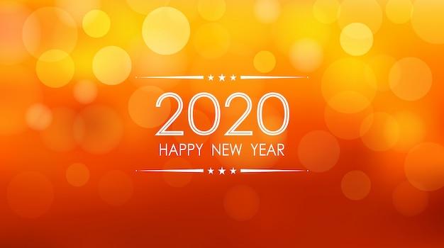 Bonne Année 2020 Avec Motif Flare Bokeh Et Lentille Sur Fond De Couleur Orange été Vecteur Premium