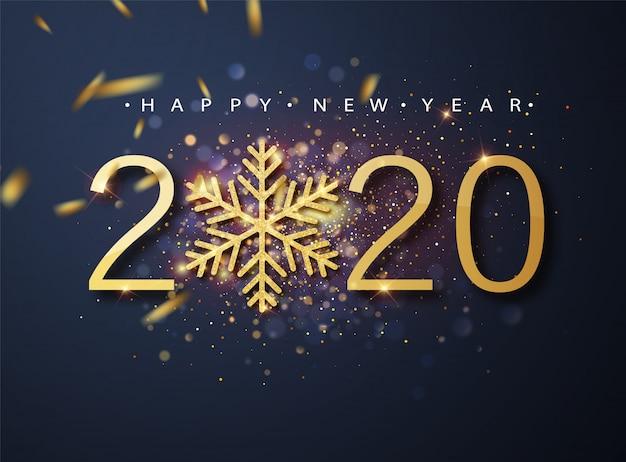 Bonne Année 2020. Motif De Vacances En Métal Doré De 2020 Et De Paillettes Scintillantes. Salutations De Noël Vecteur Premium