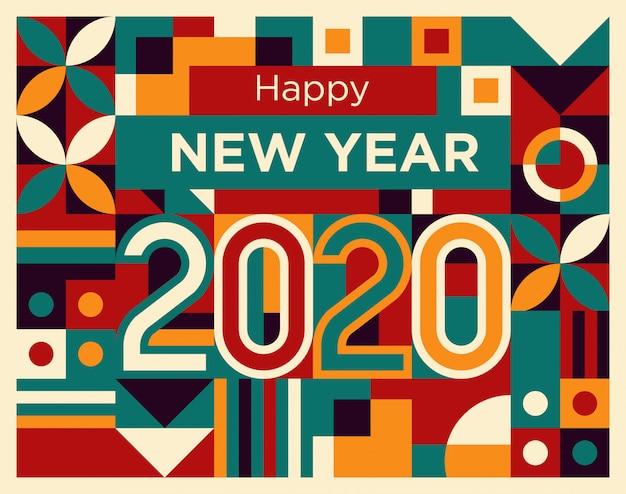 Bonne Année 2020 En Style De Formes Géométriques Abstraites Rouge, Tosca, Jaune Et Violet Vecteur Premium