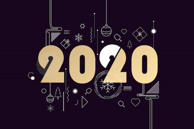 Bonne année 2020 Vecteur Premium
