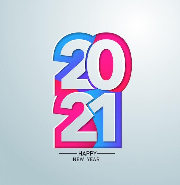 Bonne Année 2021 Dans La Conception De Papier Bannière Couleur Vecteur Premium