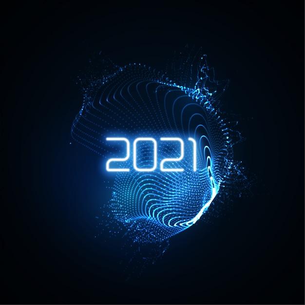 Bonne Année 2021. éclaboussure De Néon Brillant Futuriste Avec Des Rayons Lumineux éclatants. Illustration De Vacances. Signe De Fête Du Nouvel An 2021. Vecteur Premium