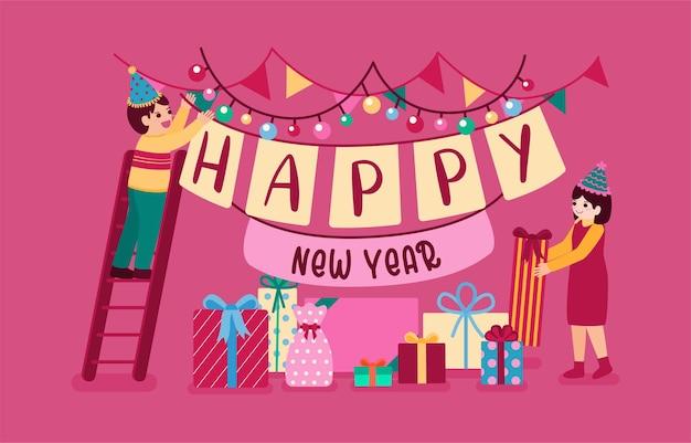 Bonne Année 2021 Fête Affiche Ou Bannière Avec Des Icônes De Boîte-cadeau Vecteur gratuit
