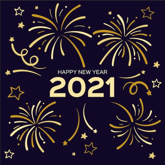 Bonne Année 2021 Avec Feux D'artifice Dorés Vecteur Premium