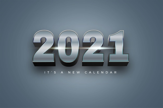 Bonne Année 2021 Fond De Couleur Argent Vacances Vecteur Premium