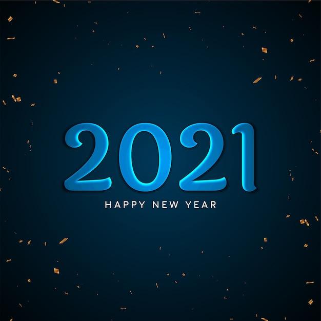 Bonne Année 2021 Fond De Texte Bleu Vif Vecteur gratuit