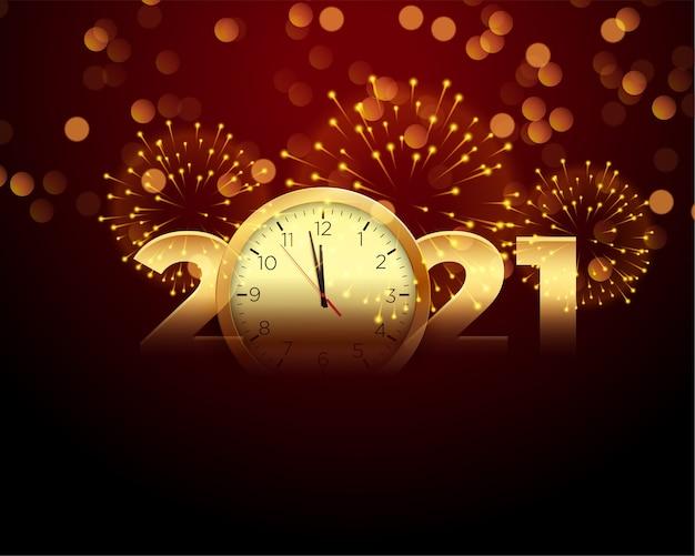 Bonne Année 2021 Avec Horloge Et Fond De Feu D'artifice Vecteur gratuit