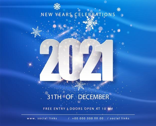 Bonne Année 2021. Modèle De Conception De Carte De Voeux De Vacances D'hiver Bleu. Affiches De Vacances Du Nouvel An. Bonne Année Fond Festif Bleu. Vecteur gratuit