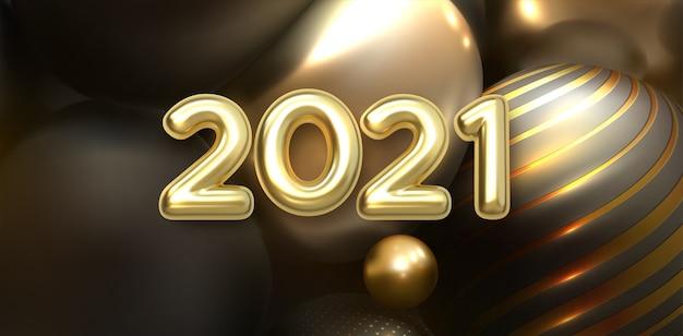 Bonne Année 2021. Numéros Métalliques Dorés 202. Vecteur Premium