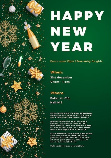 Bonne Année Affiche D'affiche Mise En Page Parti Ou Modèle De Flyer. Vecteur Premium
