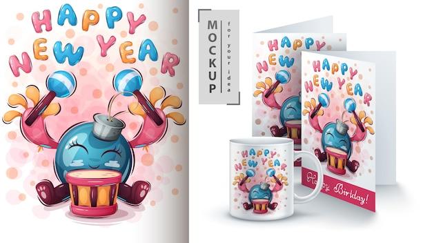 Bonne année affiche et merchandising Vecteur Premium