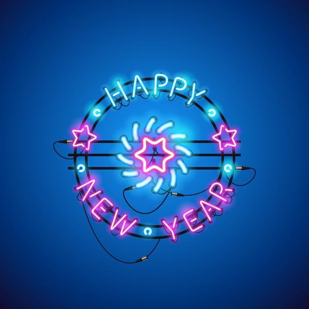Bonne année bleu rose au néon Vecteur Premium