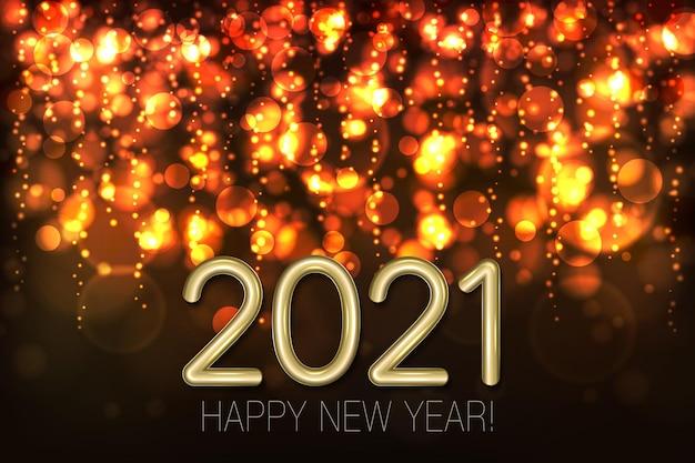 Bonne Année Brillant Fond Avec Des Paillettes D'or Et Des Confettis. Vecteur Premium