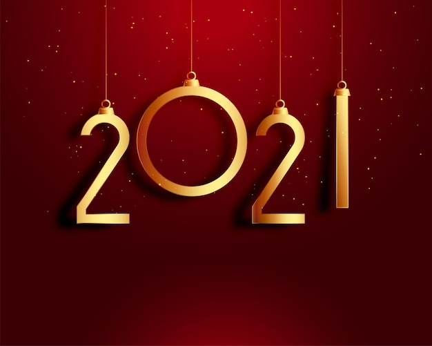 Bonne Année Carte Rouge Et Or Vecteur gratuit