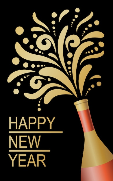Bonne année, conception abstraite de champagne. Vecteur Premium