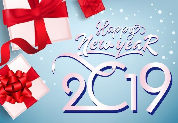Bonne Année, Conception De Flyer Vingt Dix Neuf. Coffrets Cadeaux Vecteur gratuit