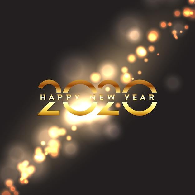 Bonne année avec la conception de lumières bokeh Vecteur gratuit