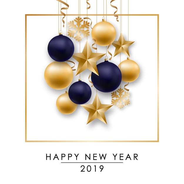 Bonne Année Design Avec Des Boules Brillantes Vecteur Premium