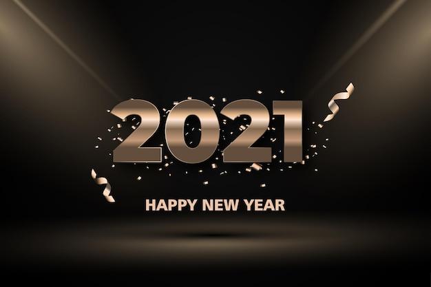 Bonne Année Deux Mille Vingt Et Un Avec Lumière Or Sur Fond Noir Vecteur Premium