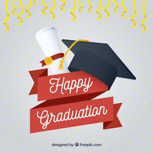Bonne année de fin d'études avec capital et diplôme Vecteur gratuit
