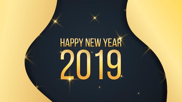 Bonne année fond d'or Vecteur Premium