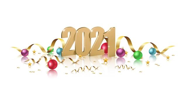 Bonne Année, Illustration Des Nombres D'or Avec Des Boules De Noël, Invitation De Célébration De New York Sur Fond Blanc. Vecteur Premium