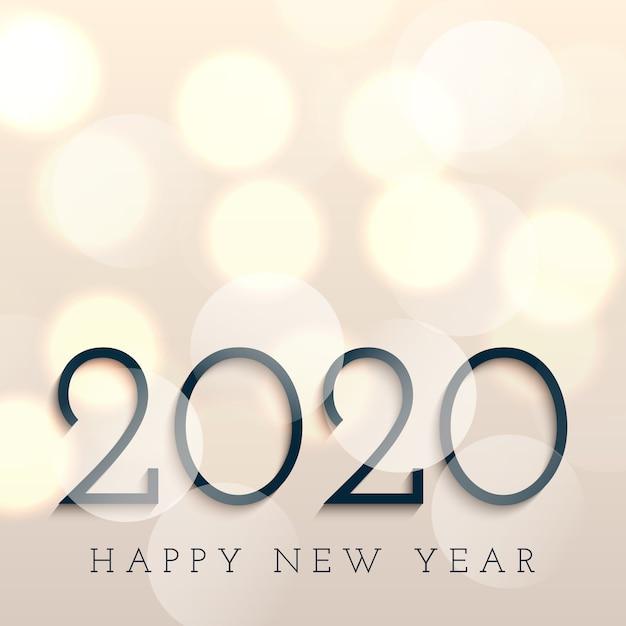 Bonne année avec des lumières de bokeh Vecteur gratuit