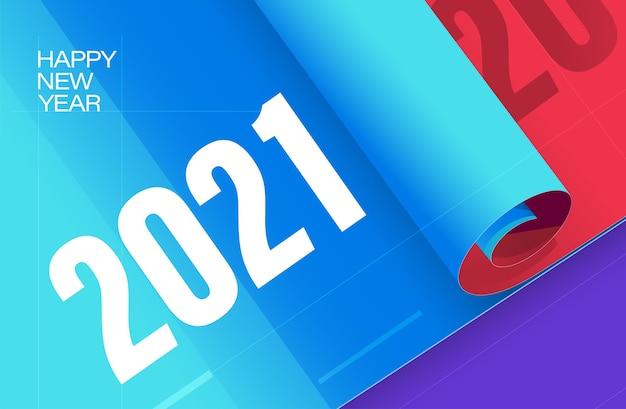 Bonne Année Modèle Fond Affiche De Nouvel An Avec Des Couleurs Bleu Rouge Vecteur Premium