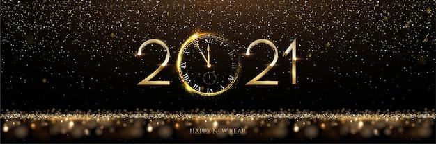 Bonne Année Avec Nombre D'or Et Horloge Vecteur Premium