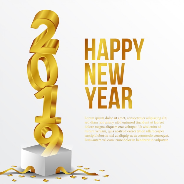Bonne année nombre d'or Vecteur Premium