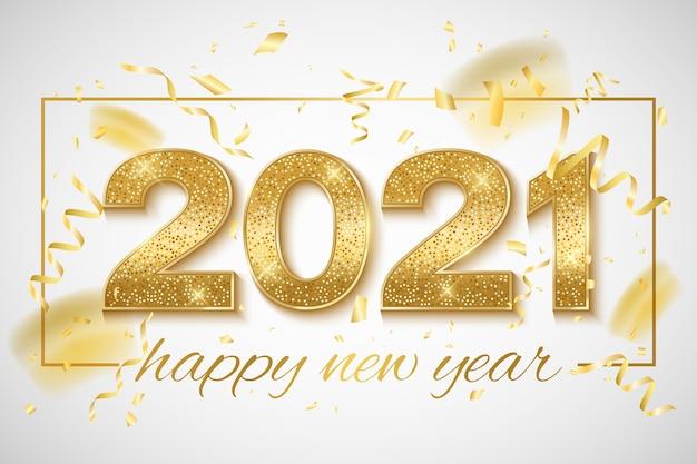 Bonne Année Numéros Scintillants D'or Avec Des Confettis Et Des Guirlandes Sur Un Fond Clair. Vecteur Premium