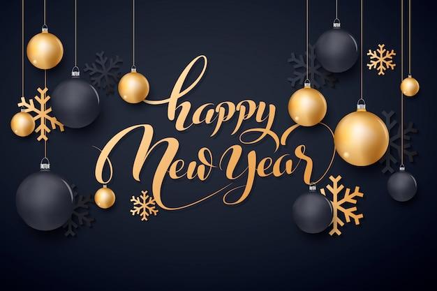 Bonne Année Or Et Noir Lieu De Collors Pour Le Texte Boules De Noël 2020 Vecteur Premium