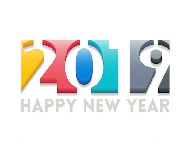 Bonne année salutation illustration avec des numéros de couleur 2019. Vecteur Premium