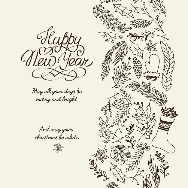 Bonne Année Salutations Typographie Conception Carte Décorative Doodle Avec Souhaite Que Tous Vos Jours Soient Joyeux Et Lumineux Vecteur gratuit