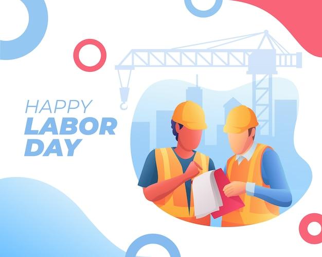 Bonne bannière de la fête du travail et de deux travailleurs discutaient Vecteur Premium