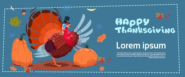 Bonne bannière de thanksgiving day. récolte traditionnelle d'automne avec la dinde Vecteur Premium
