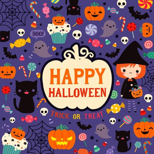 Bonne carte de fête d'halloween Vecteur Premium