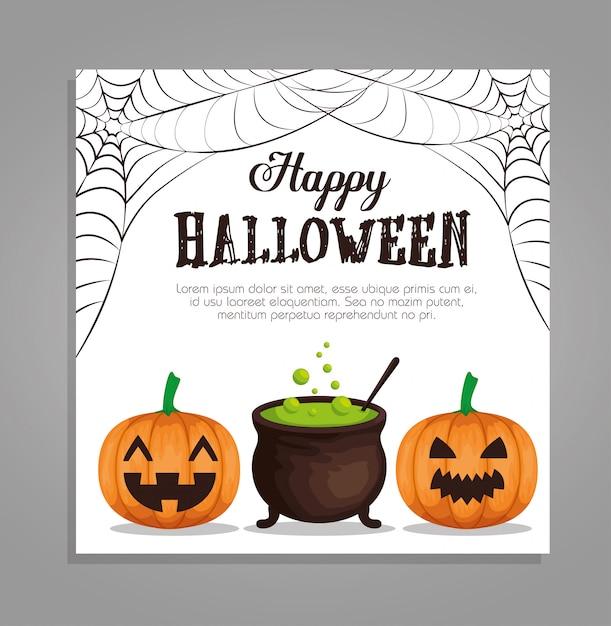 Bonne carte d'halloween avec citrouilles et chaudron Vecteur gratuit