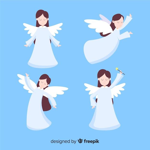 Bonne collection d'anges de noël Vecteur gratuit