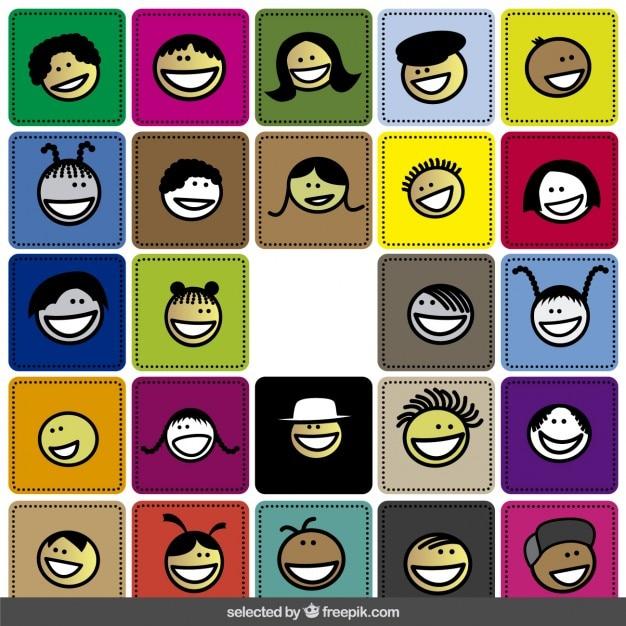 Bonne collection colorée de visages Vecteur gratuit