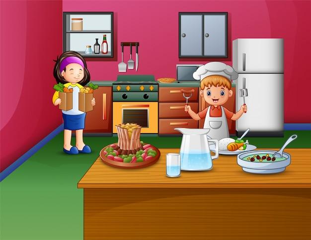 Bonne cuisine avec soeur et frère Vecteur Premium